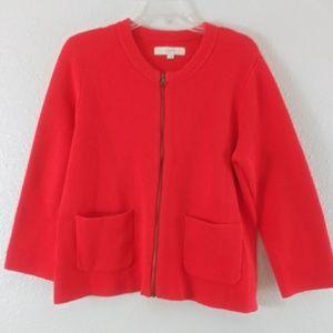 Loft Orange Zip Sweater